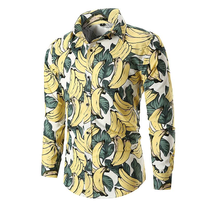 2019 New Banana Prints Shirts Mens Clothes Long Sleeve Mens Dress Shirts Casual Regular Fit Camisa Social Masculina 021146