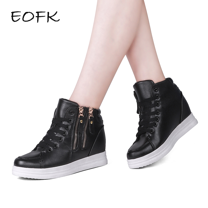 EOFK Women Sneakers High Top Women s Casual Boots New Fashion Height Increasing Ankle Boots With