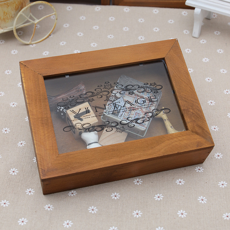 Antique Style Wooden Rectangle Boxes Eco Friendly Sundries Storage Box With Transparent Lid Home Decor