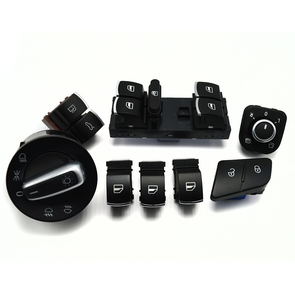 8ピース/セット窓ヘッドライトミラーテールゲート&燃料ドア制御スイッチボタン用vwパサートb6 3c0962125b 5ND959565A 5ND941431A|車のスイッチ & リレー|自動車 &バイク -