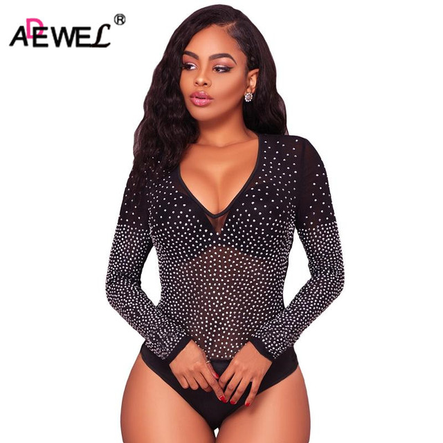 538f6e17ccc ADEWEL Sexy See Through Rhinestone Appliques Mesh Bodysuit Women Long  Sleeve Bodycon Body Top Short Jumpsuit Romper Overalls