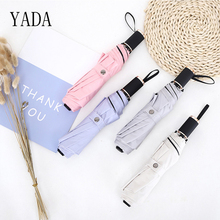 YADA NEW Solid Color Charm Patio Umbrella Rain Women uv High Quality For Brand Windproof Umbrellas Parasols YS298