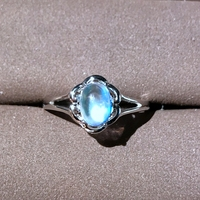 Natural Moonstone Rings for Women, 925 Sterling Silver Fine Jewelry Lady, 5*7mm Gemstone Gift with Velvet Box Certificate FJ253