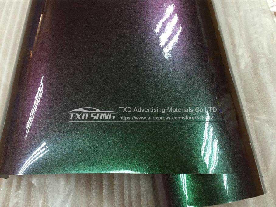 50X152 см/лот новейший жемчужный Блестящий хамелеоновый фильм с воздушными пузырьками жемчуг-хамелеон виниловая Автомобильная Наклейка - Название цвета: green to red