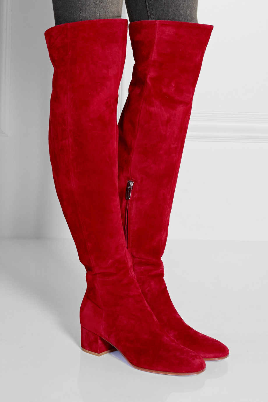 725cff12722 Real Pic Winter Red Suede Round Toe Over The Knee Boots Thick Heels ...