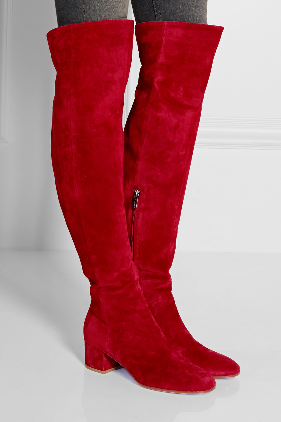 Real Pic Winter Red Suede Round Toe Over The Knee Boots  Thick Heels Woman Fashion Tight High Boots Winter Long Boots