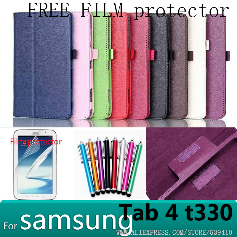 Magnet stand pu litchi leather case cover For samsung Galaxy tab 4 8.0 T330 8 inch tablet case + screen protector + stylus luxury flip stand case for samsung galaxy tab 3 10 1 p5200 p5210 p5220 tablet 10 1 inch pu leather protective cover for tab3