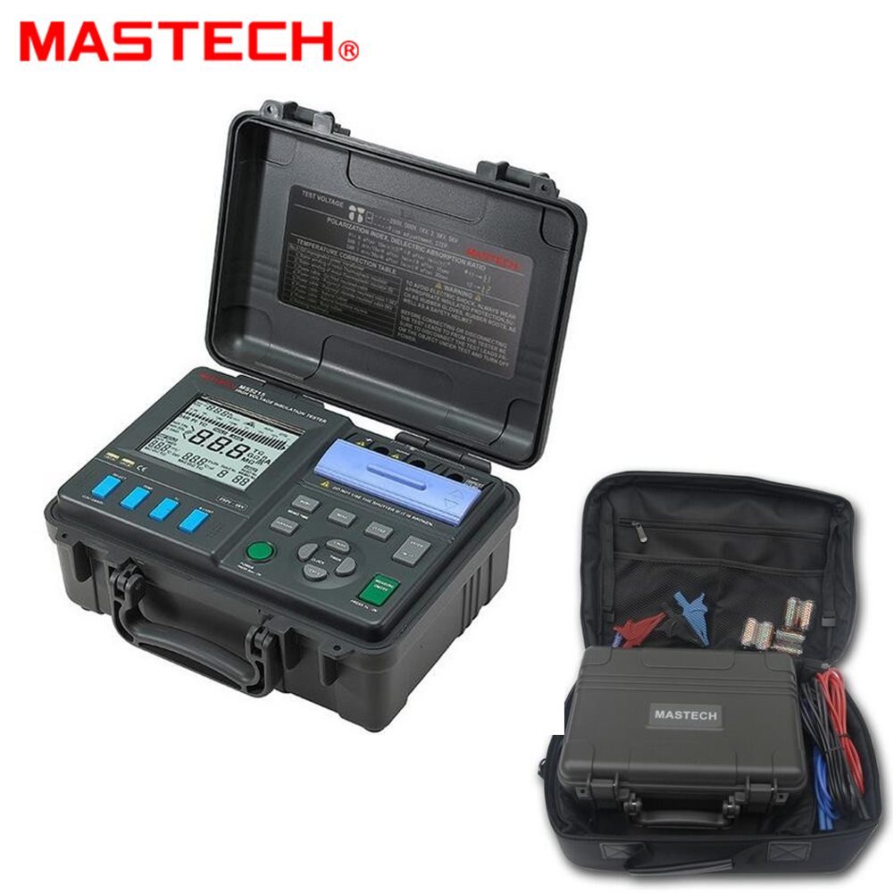 MASTECH MS5215 High Voltage Digital Insulation Tester Megometro Megger 250V~5kV 3mA, Temp(-10-70C) mastech ms5215 high voltage digital insulation resistance tester megometro megger 5000v 3ma temp 10 70c