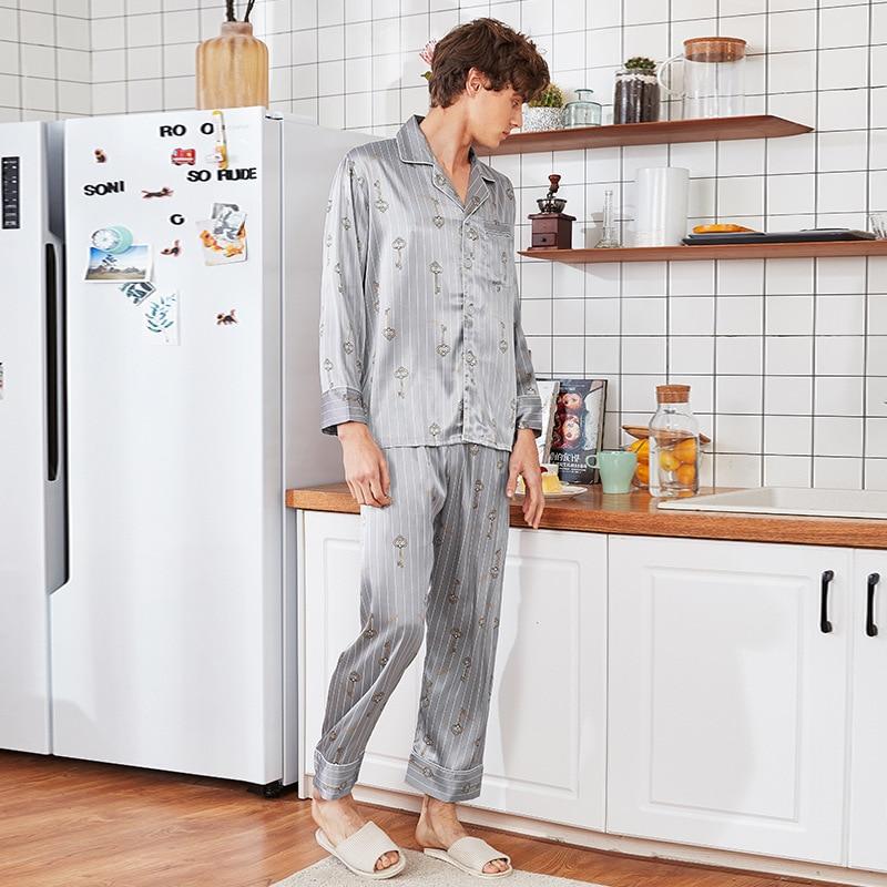 New Summer Silky Sleep Pajamas Suit Mens Shirt Pants Sleepwear Sets Casual Home Wear Nightwear Faux Silk Robe Bath Gown L-XXL