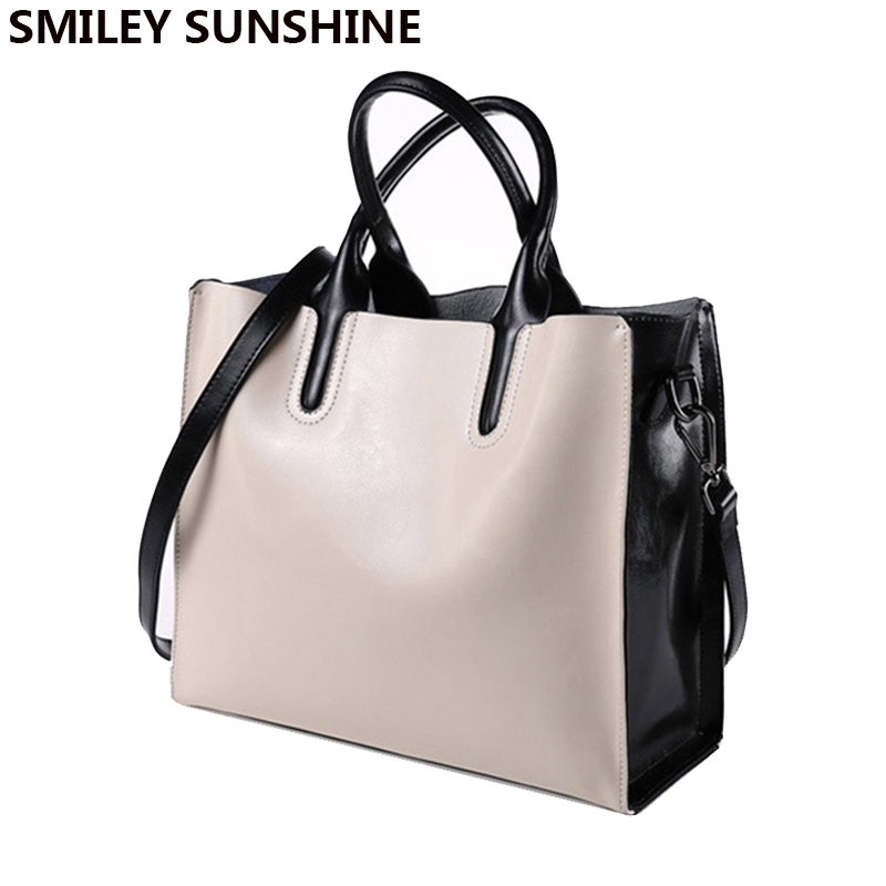 SMILEY SUNSHINE brand bag ladies genuine leather shoulder bags female tote top handle bags women leather