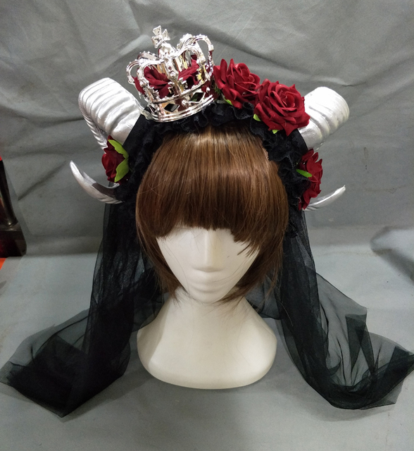 Restyle Large Silver Ram   Roses Horns Gothic Hair Headpiece Headband Lolita  Floral Crown Headbands Fancy Dress 6504cf645ab5