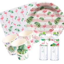 Omilut Tropical Flamingo Birthday Supplies Palm Leaf Disposable Plates/Cups/Paper Summer Party Hawaii Decor