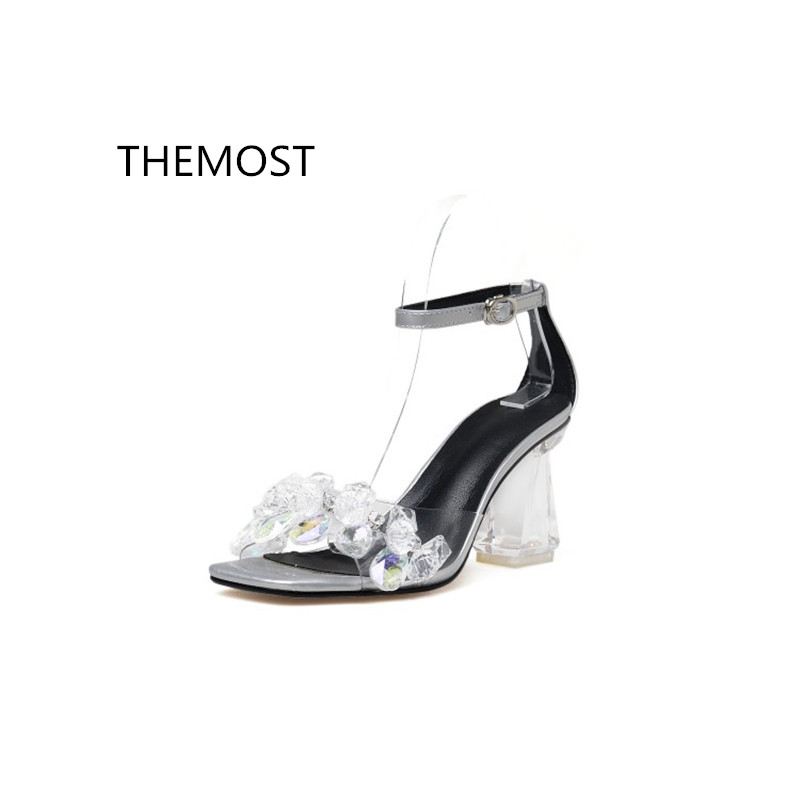 THEMOST Summer 2018 new fashion transparent water drill high heel sandals The European and American style Sexy leakage toe themost sexy fish mouth hollowed out roman sandals fashion foreign trade european and american style four colors can be selected