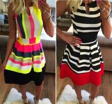 2016 Summer Casual Sleevless Sundress Striped Slim Elegant Charming Women Casual Dress EG813