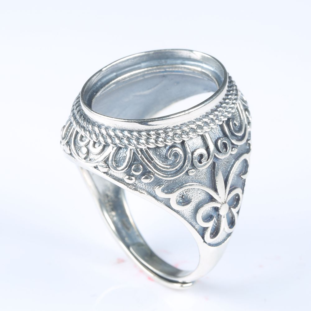 Art Nouveau Real 925 Sterling Silver Men Engagement Wedding Semi Mount Ring Oval Cabocho ...