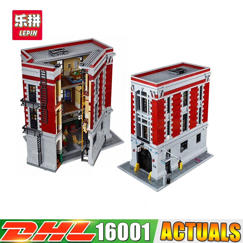 2018 DHL LEPIN 16001 4695Pcs Ghostbusters Firehouse Headquarters Model Building Blocks Educational Brick Toys Compatible 75827 lepin 16001 4705pcs city street series ghostbusters firehouse headquarters building block bricks kids toys for gift 75827