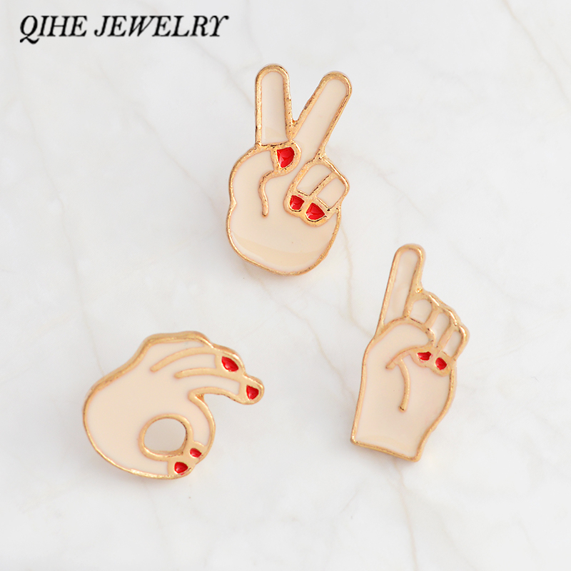 QIHE JEWELRY Victory,OK,finger gesture sign Pins and brooches Cartoon cute kawaii Lapel pins Badges Backpack Hat Jewelry