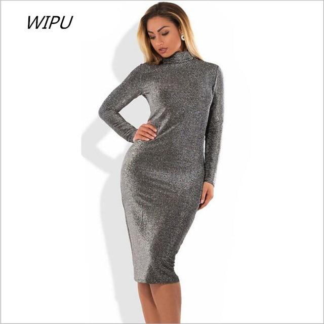 2018 New Plus Size Winter Women Dresses Sexy Bandage Bodycon Party