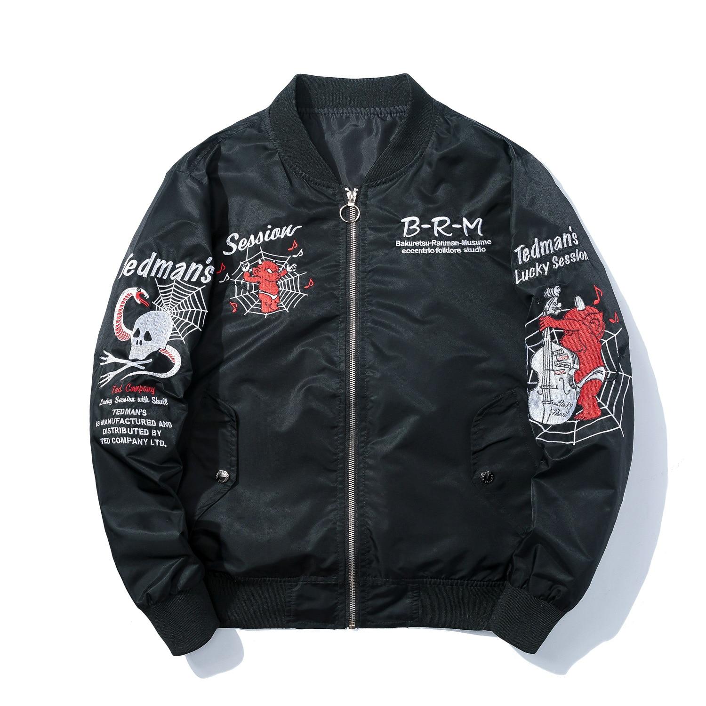 Veste d'hiver broderie survêtement Anime Bomber veste hommes Hip Hop mode Baseball veste manteaux noir japonais Streetwear homme