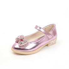 Gold pink silver Childrens leather shoes Girl Low heeled bows Rhinestone Princess dancing shoes Spring Dance Wedding Party Shoes