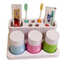 Behogar Home Bathroom Gadgets Toothbrush Toothpaste Holder Cup Holder with Three Water Cup Shelf Backet Bathroom Accessory Set