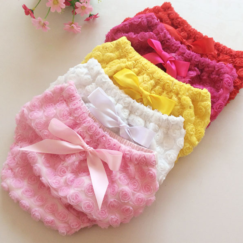 0 4Y Baby girls underwear floral bow newborn photography props infant panties 7 colors cotton lace kids briefs toddler cute pant in Panties from Mother Kids