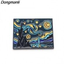 DMLSKY Van Gogh Art Brooch The Starry Night Enamel Pins For Women Men Backpack Personality Kids Pin Charm Jewelry M2934