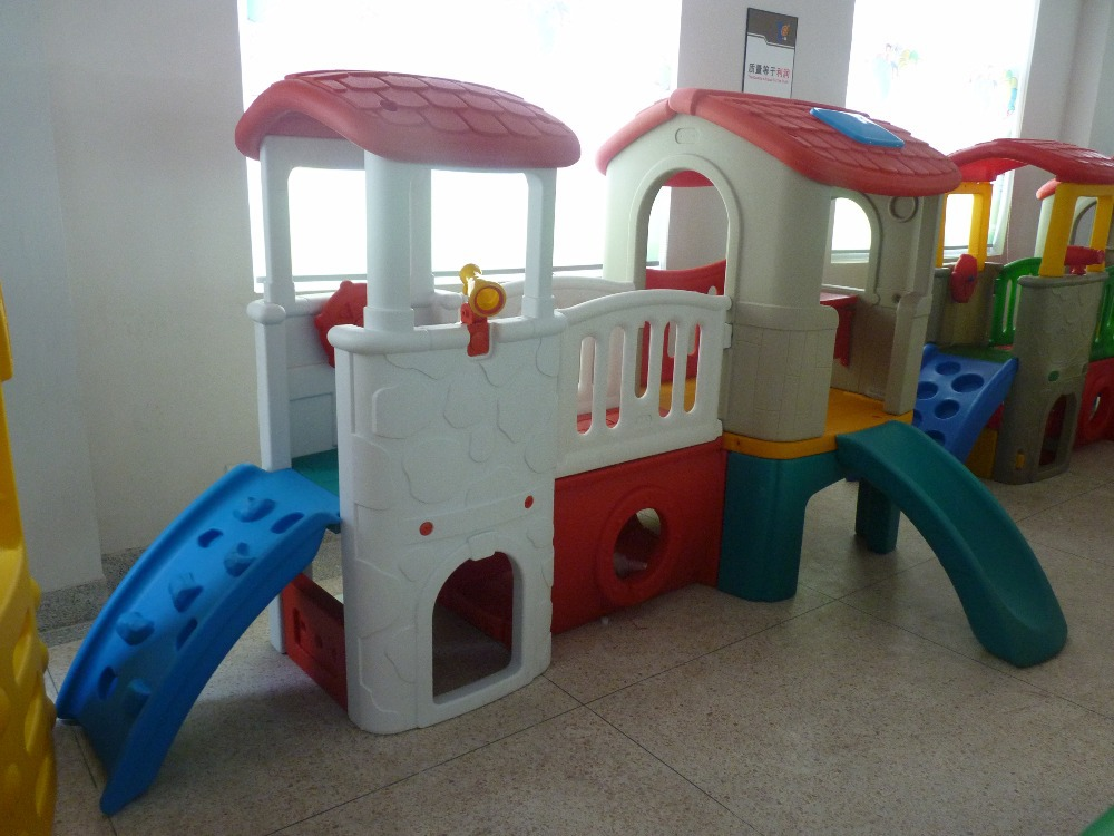 Children indoor play house plastic slide kids outdoor playhouse ...