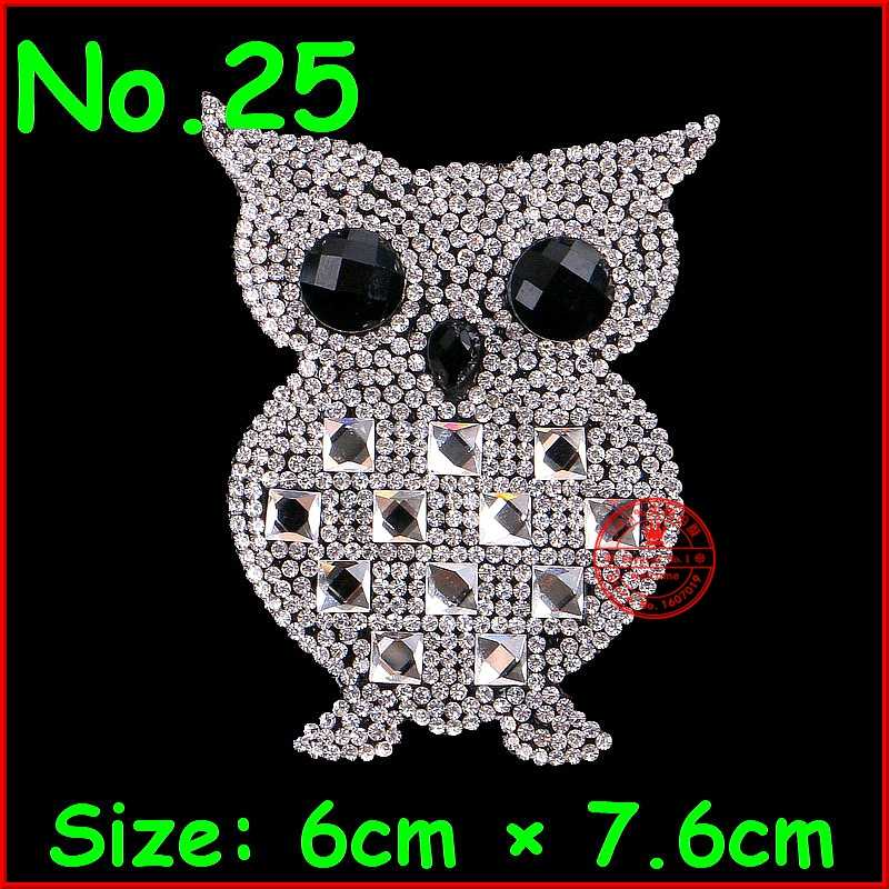 1 pcs Owl Patches Hotfix Rhinestone Motifs Iron On Patches Crystal Stones  Applique For Children Women f076fa244e0c