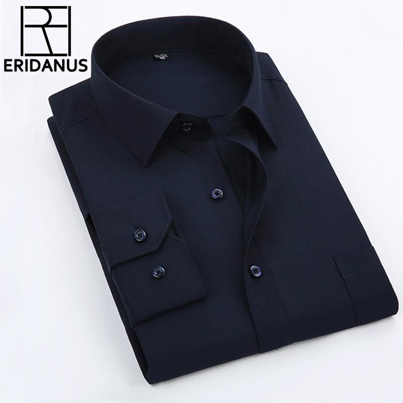 2016 ახალი ჩამოსვლა მამაკაცის ყოველდღიური პერანგები მამაკაცის მოდა სუფთა ფერის სქელი ბამბის გრძელი ყდის გამხდარი საყელოს მაისური ზომა XS- 5XL M001
