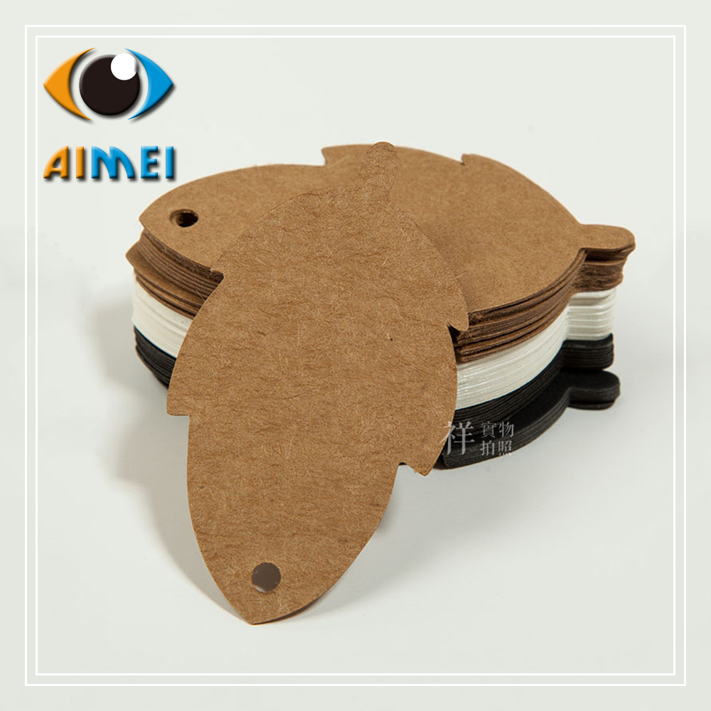 ᗔ3,8x7 cm Kraft etiquetas de papel con forma de hojas etiquetas de ...