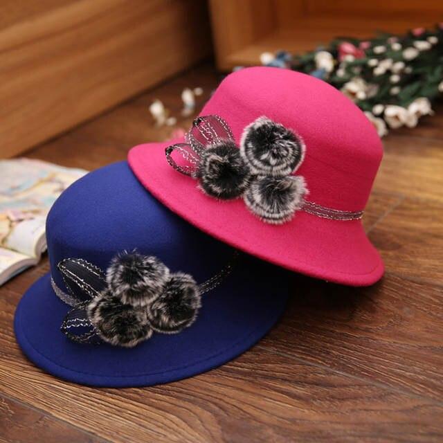 cf4562320cb6c placeholder 2018 Brands Winter fur Fedora hats for female ladies felt top  hat for girls homburg Women s