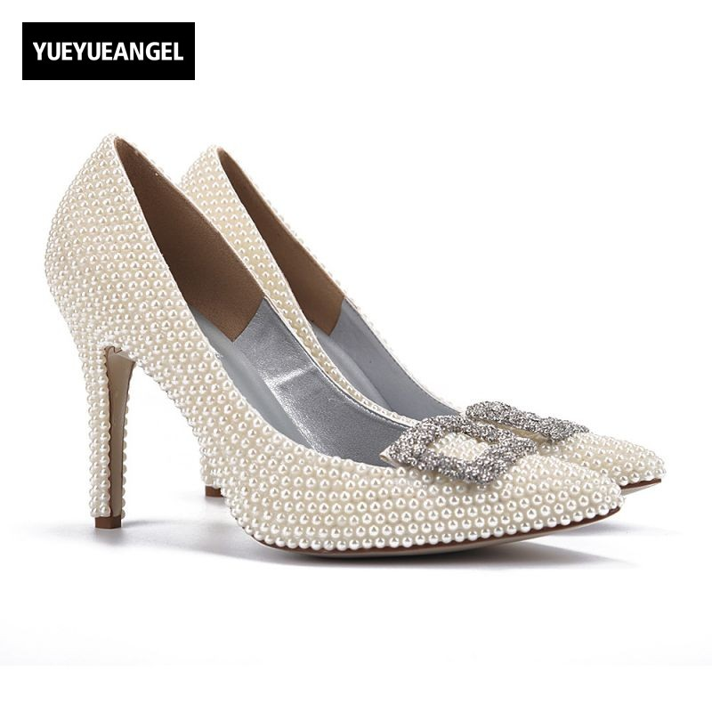 New Hot Sale Women High Heel Shoes Pointed Toe Slip On For Women Dress Wedding Shoes Bead Metal Decoration Lady Paty Sexy Pumps xiaying smile summer women sandals casual fashion lady square heel slip on flock shoes pointed toe cover heel lace bowtie shoes