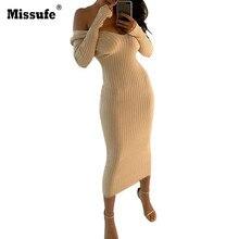 Сексуальная плеча с длинным рукавом Bodycon халат Для женщин; коллекция 2017 г.; на осень-зиму теплый вязаный Платья для женщин Элегантный Винтаж Party Vestidos