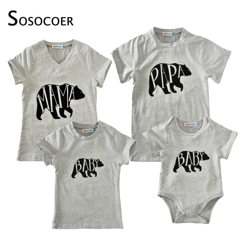 SOSOCOER Családi illeszkedő ruhák Anya lánya Apa Baby T-shirt Romper Nyár 2018 Cartoon Bear Papa Mama Baby Kids Outfits