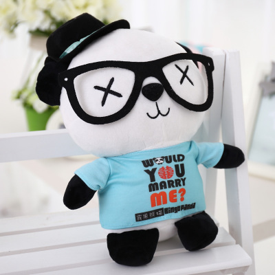 glasses panda in light blue  cloth large 70cm plush toy fall in love panda doll soft throw pillow, proposal gift x037 40cm super cute plush toy panda doll pets panda panda pillow feather cotton as a gift to the children and friends