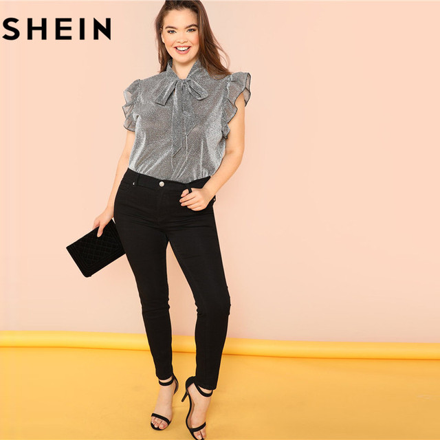 SHEIN Grey Ruffle Trim Tie Neck Plus Size Women Thin Blouses Summer Polyester Sleeveless Elegant Office Lady Solid Top Blouse