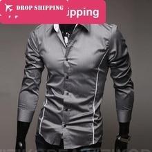 Camisa masculina, мужская повседневная рубашка с длинным рукавом и принтом, приталенные мужские рубашки, camisa social masculina
