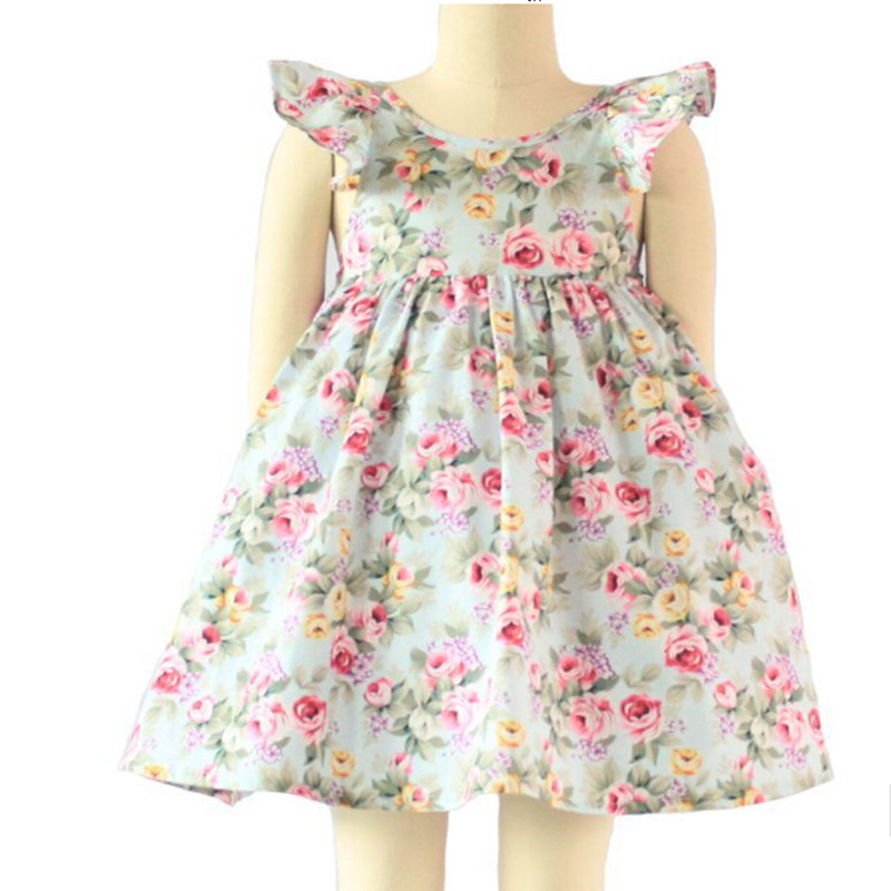 cheapest vintage floral dress ruffle sleeve backless