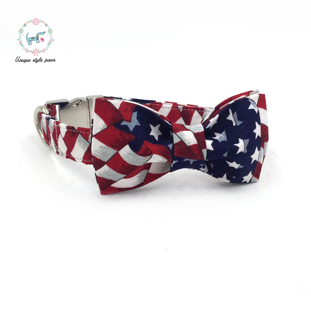 Stars and Stripes Collar and Leash set with Bow Tie 3