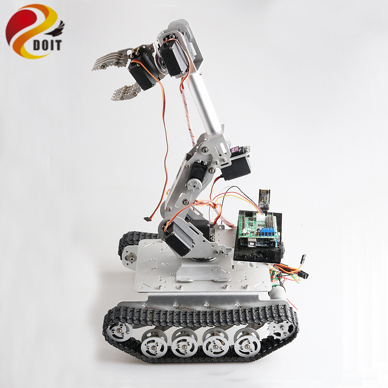 Mobile Robot with 8 DOF Mechanical Arm Shock Absorber Tank Chassis for Grabbing Transport DIY Educational Project