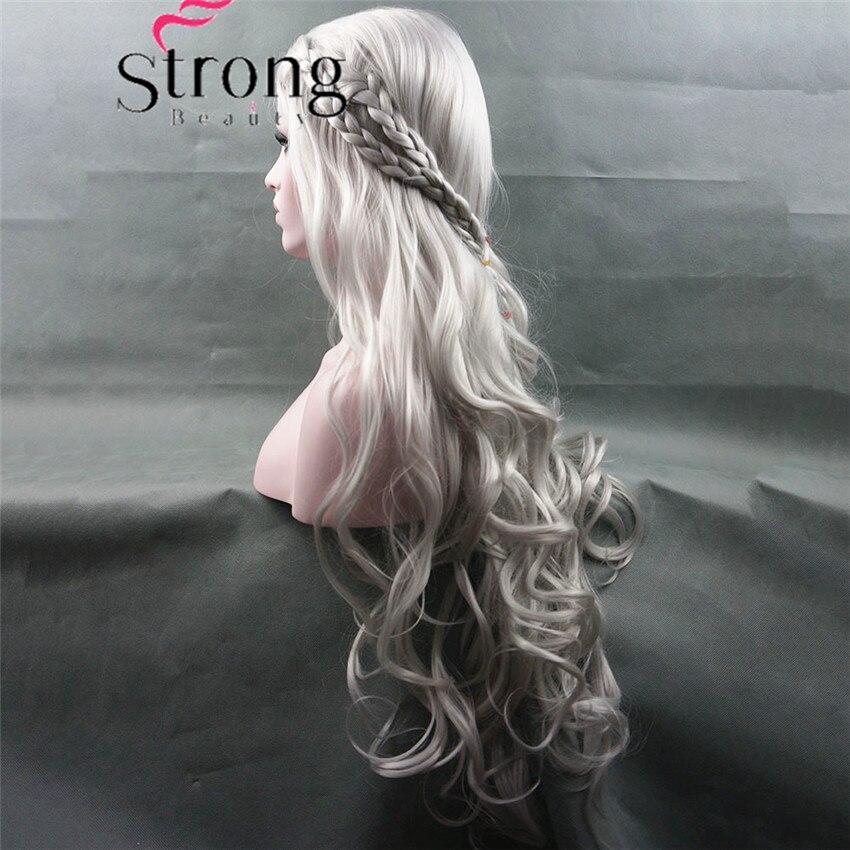 Strongbeauty longo ondulado prata cosplay peruca trajes peruca de cabelo