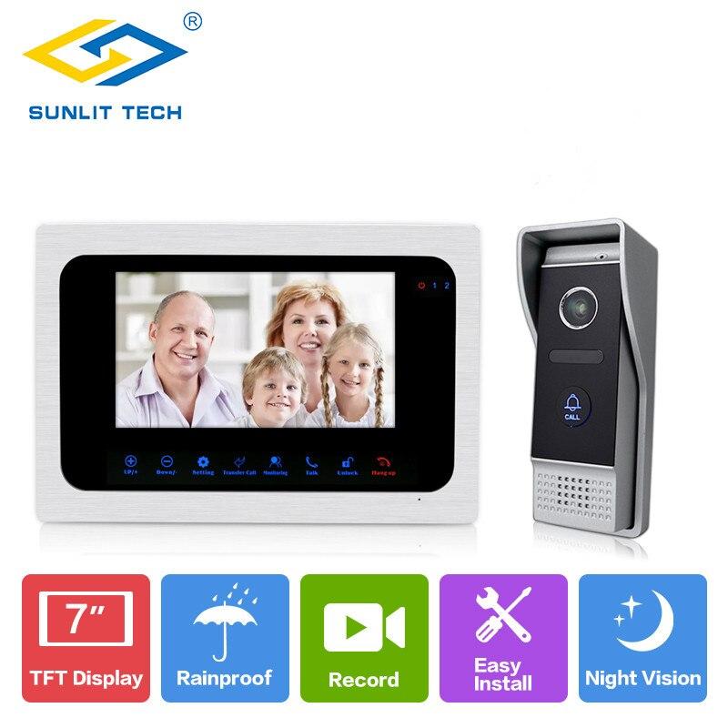 7inch TFT LCD Wired Video Door Phone Visual Video Intercom Speakerphone Intercom Access System With Waterproof Outdoor IR Camera