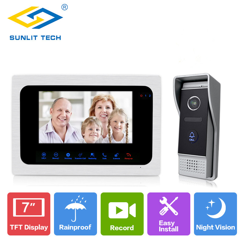7inch TFT LCD Wired Video Door Phone Visual Video Intercom Speakerphone Intercom Access System With Waterproof Outdoor IR Camera цена