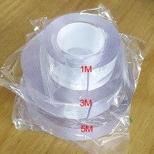 1 rolo 1 m/3 m/5 m multi-função transparente dupla face fita adesiva poderosa lavável e reutilizável adesivo fita