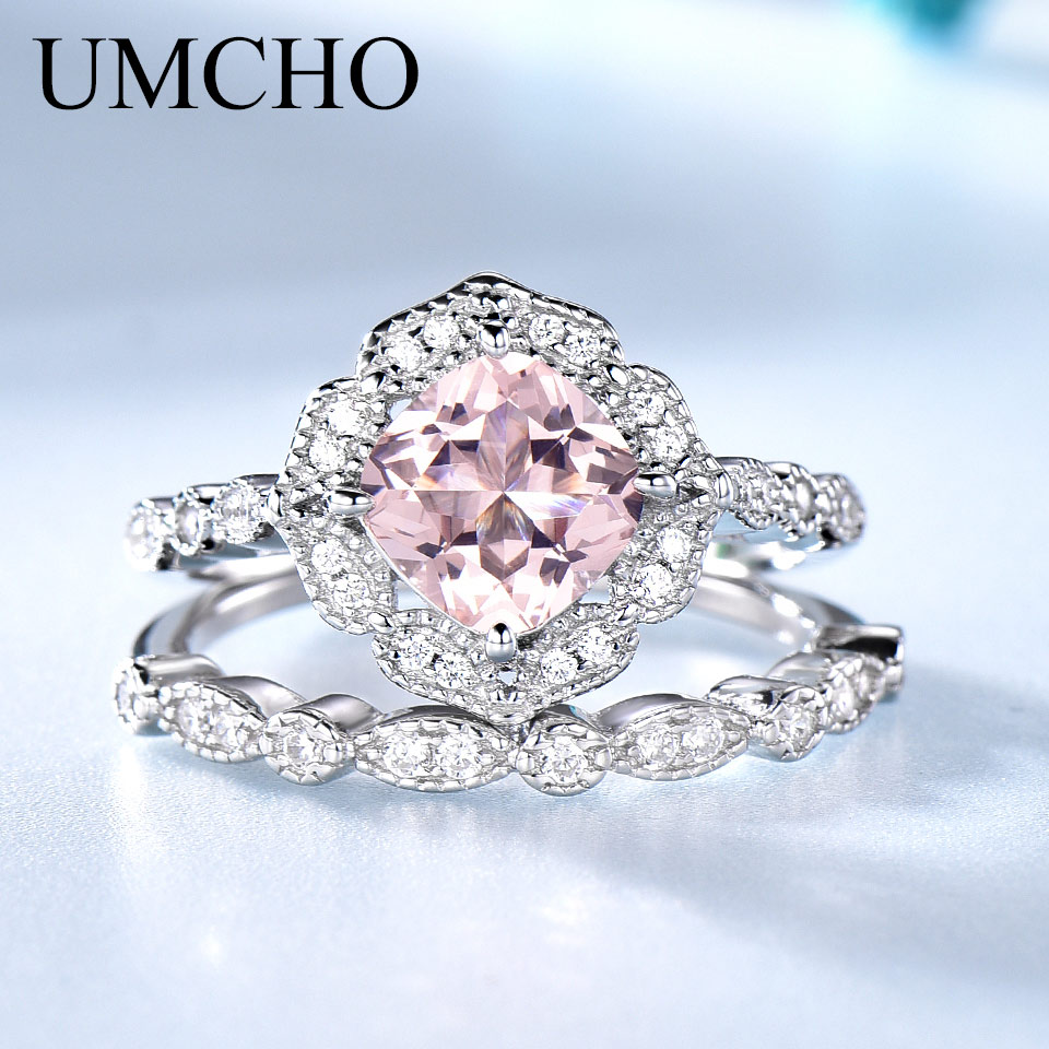 UMCHO Solid Sterling Silver Morganite Rings For Women Engagement Anniversary Band Ring Set Pink Gemstone Valentine's Gift