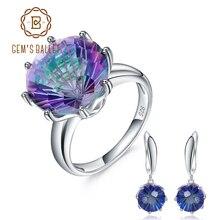 GEM'S балетные 925 пробы серебряные обручальные ювелирные изделия натуральная Радуга Мистический кварцевый камень кольцо серьги набор украшений для женщин