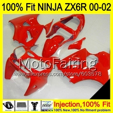 8Gifts Injection mold Body For KAWASAKI NINJA ZX-6R 00-02 1HM14 ZX 6R ZX6R 00 01 02 ZX636 636 2000 2001 2002 Fairing red