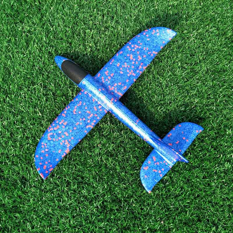 35 см детские игрушки «сделай сам» ручной бросок летающий самолет s пена модель аэроплана светится в темноте Летающий Plane Самолет игрушки для детей - Цвет: 35cm Not Lamp Blue