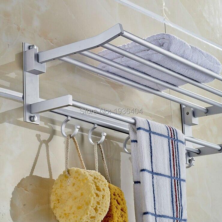Wholesale Cheap High Quality Bathroom Towel Racks Double Towel Rack Wall Mounted Space Aluminum Towel Shelf TR1021 xueqin 56x7 2x3 5cm bathroom towel racks double towel rack wall mounted space aluminum towel shelf with hooks bath rails bars